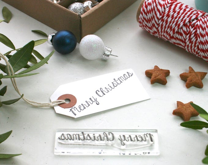 Merry Christmas Rubber Stamp - Merry Christmas Stamp - Christmas Card Making - Greetings Stamp - Stamp - Clear Stamp - Little Stamp Store