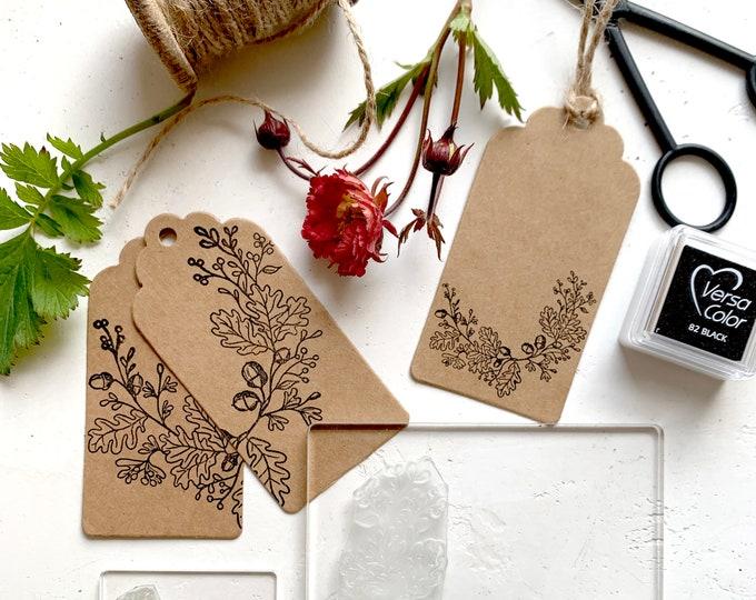 Oak Wreath Rubber Stamp - Oak Wreath Stamp - Wreath Stamp - Oak Leaf and Acorn Wreath - Clear Stamp - Oak Wreath - Little Stamp Store
