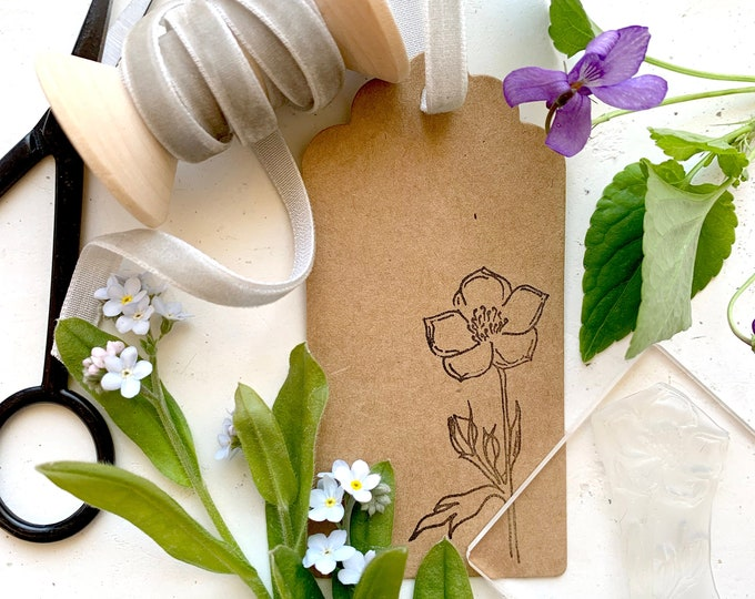Buttercup Rubber Stamp - Buttercup Stamp - Wildflower Stamp - Craft Stamp - Sticky Stamp - Buttercup Wildflower - Little Stamp Store