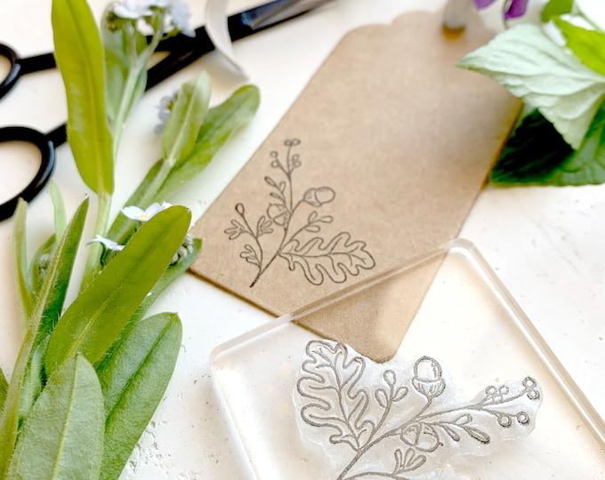 Oak Sprig Rubber Stamp - Oak Leaf Stamp - Oak Leaf - Acorn - Oak and Acorn - Rubber Stamp - Clear Stamp - Sticky Stamp - Little Stamp Store