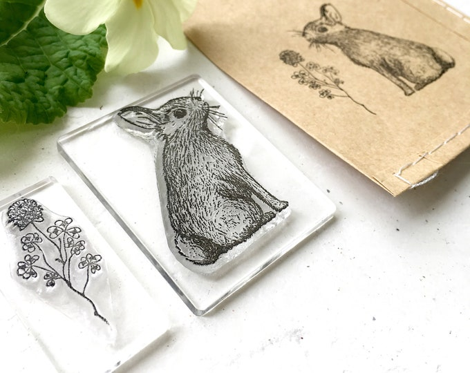 Rabbit and Clover Rubber Stamp