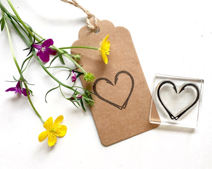 Fish Hook Heart Rubber Stamp