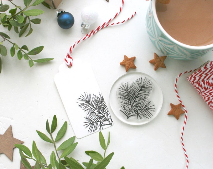 Pine Tree And Pine Cone Rubber Stamp