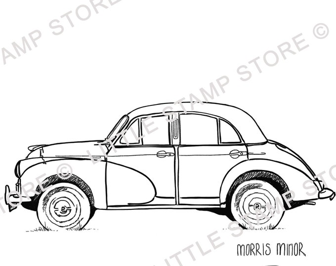 Morris Minor Classic Car Rubber Stamp