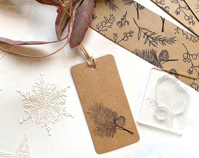 Pine Tree Sprig Rubber Stamp