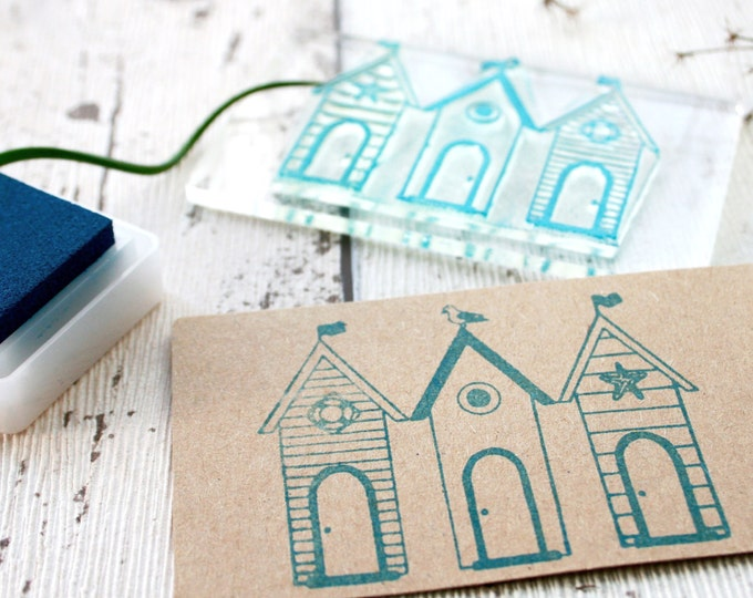Beach Huts - Beach Hut Scene - Card - Gift Tags - Birthday Present - Holiday Postcards - Seaside - Flexi-Clear Stamp by Little Stamp Store