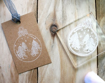 Christmas Bauble Stamp - Snow Globe Stamp - Christmas Bauble -  Christmas Decoration Stamp - Clear Stamp - Little Stamp Store