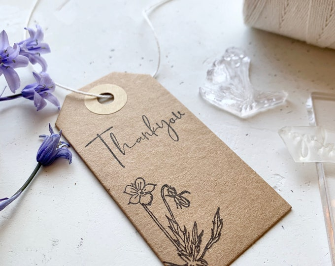 Thank you rubber stamp - viola flower - pansy rubber stamp