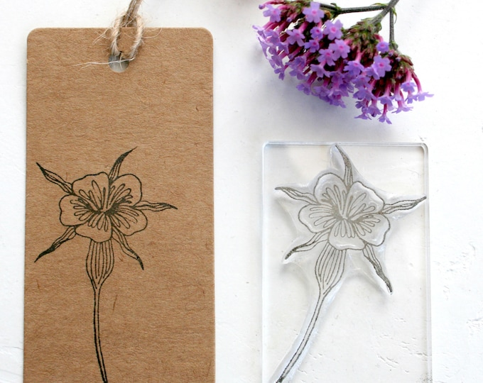 Corncockle Wild Flower Rubber Stamp
