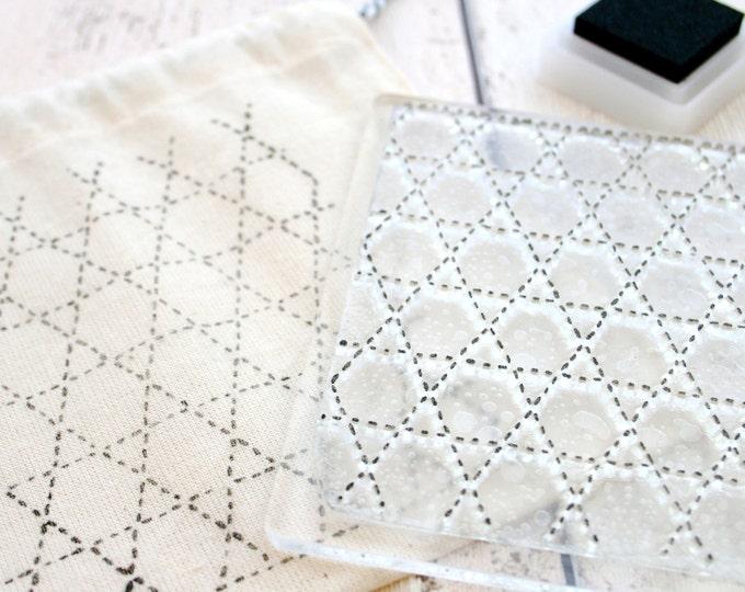 Fabric Sashiko Printing Stamp - Material Printing - Clear Sticky Stamp - Sashiko - Stamp - Pattern Stamps - Sashiko Embroidery