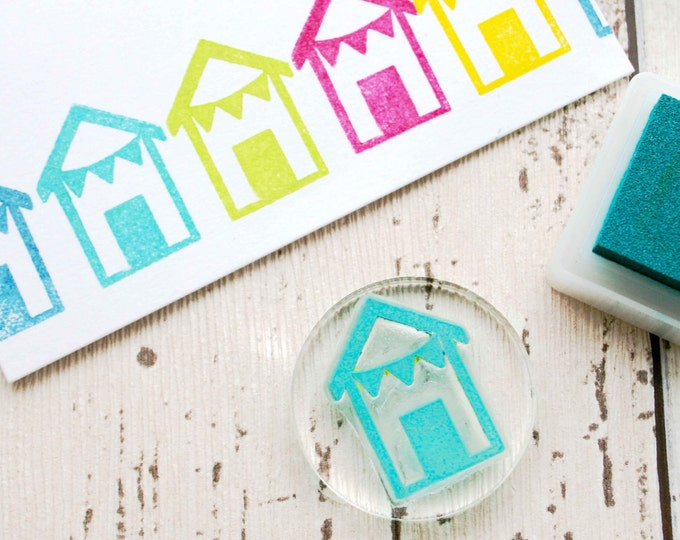 Beach Hut Rubber Stamp