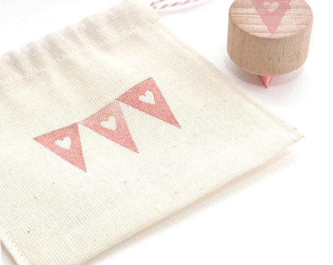Heart Bunting Hand Carved Rubber Stamp