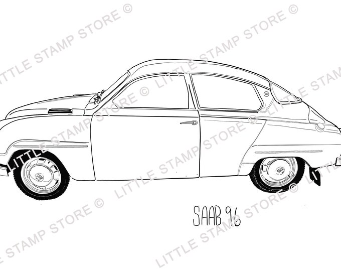 SAAB 96 Classic Car Rubber Stamp