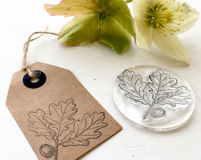 Oak Leaf And Acorn Rubber Stamp