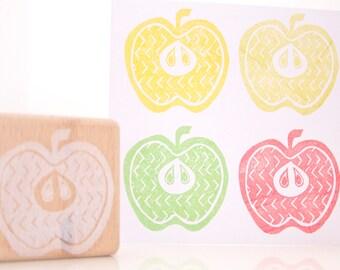 Apple Slice Rubber Stamp