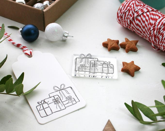 Christmas Present Rubber Stamp