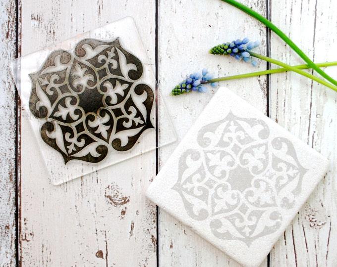 Tile - Tile Stamp - Hand Printed Tiles - Kitchen Tiles - Moroccan Tile - Clear Stamp - Rubber Stamp - Tile print - floor tiles - Printing -