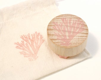 Seaweed Hand Carved Rubber Stamp