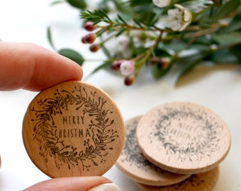 Merry Christmas Wreath Rubber Stamp