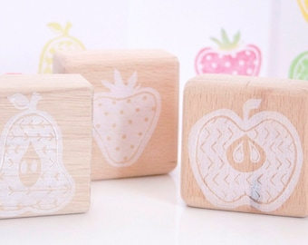 Fruits Rubber Stamps - Pear Stamp - Strawberry Stamp - Apple Stamp - Fruit Stamp Set - Hand Carved - Rubber Stamps - Little Stamp Store