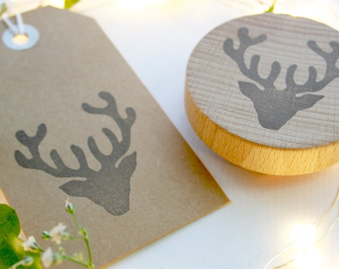 Stags Head Stamp - Stag Stamp - Christmas Card - Christmas Stag Stamp - Handmade Gift Tags - Hand Printed Tags - Hand Carved - Rubber Stamp
