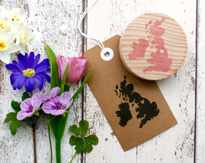 Great Britain Country Stamp - Country Stamp - Your Country with Heart Stamp - Britain Stamp - Hand Carved Rubber Stamp - Little Stamp Store