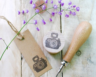 Camera Stamp - Photography Stamp - Stamp for Photographers - Customisable - Canon Camera Stamp - Hand Carved Rubber Stamp