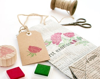 Rose Flower Stamp Set - Rose Stamp - Rose Set - Stamps - Stamping Flowers - Homemade - Hand Carved Rubber Stamps by Little Stamp Store