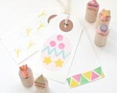 Easter Egg - Decorating Set - Hand Carved - Rubber Stamps - Little Stamp Store - Kids Crafts - fun - Easter - easter crafts - craft ideas