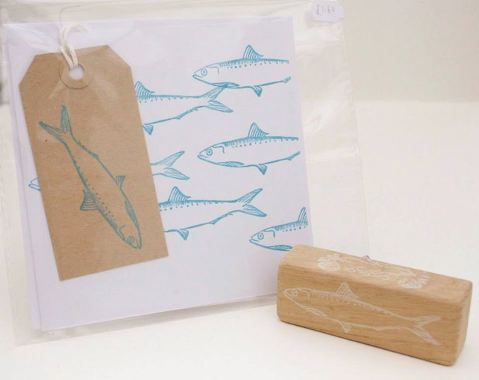 Fish Rubber Stamp - Herring - Mackerel Rubber Stamp - Happy Fathers Day - Fishing - Fishing Card - Dad - Hand Cut - Rubber Stamp - Shop