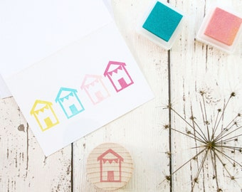Small Beach Hut Stamp - Hand Carved Rubber Stamp by The Little Stamp Store