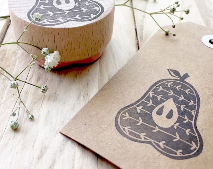 Pear Stamp - Pear Slice Stamp - Patterned Pear Stamp - Printing Aprons/Tea Towels - Fabric Printing - Hand Carved Rubber Stamp