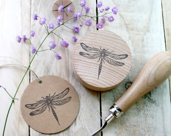 Dragonfly Hand Carved Rubber Stamp