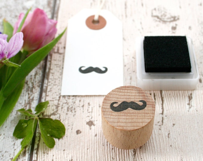 Moustache Rubber Stamp - Moustache Stamp - Moustache Wooden Mounted Stamp - Moustache - Tag Stamp - Stationary Stamps - Little Stamp Store