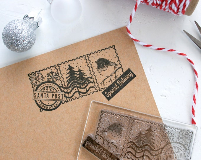 Santa Post Rubber Stamp