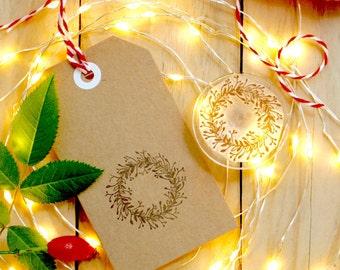 Mistletoe Wreath Stamp - Christmas Card Stamp - Mistletoe Stamp