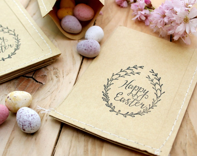 Easter Wreath Rubber Stamp - Clear Rubber Stamps - Happy Easter - Wreath - Floral Wreath - Rubber Stamp - Little Stamp Store