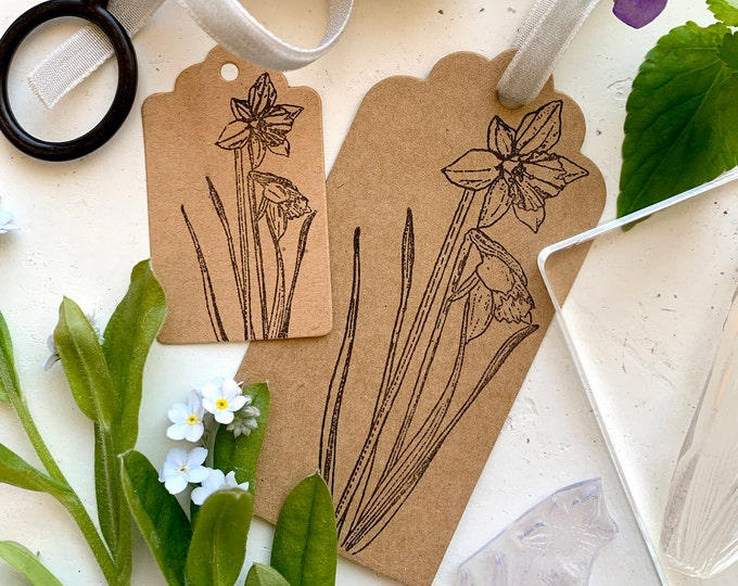 Daffodil Rubber Stamp - Daffodil Stamp - Flower Stamp - Rubber Stamp - Clear Stamp - Spring Stamp - Sticky Stamp - Little Stamp Store