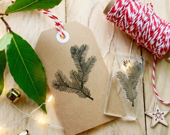 Pine Tree Sprig Clear Stamp - Clear Pine Tree Stamp - Christmas Pine Sprig Stamp - Card Making Stamp - Clear Christmas Stamp