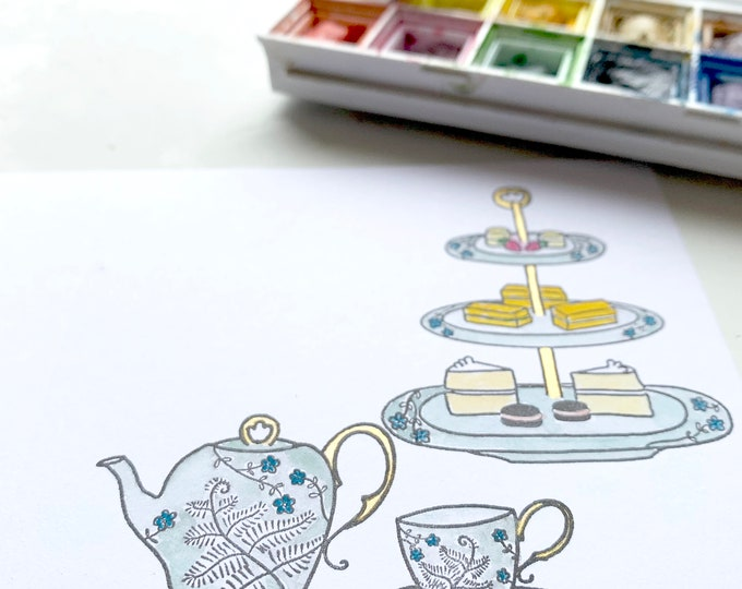 Tea Set rubber stamps - Afternoon tea set