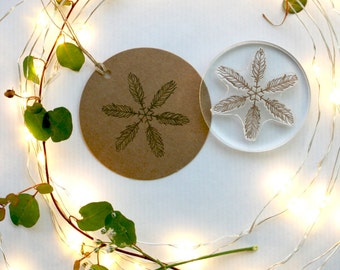 Feather Snowflake Stamp - Christmas Snowflake Stamp - Tribal Snowflake - Snowflake Stamp - Clear Stamp - Rubber Stamp -  Little Stamp Store