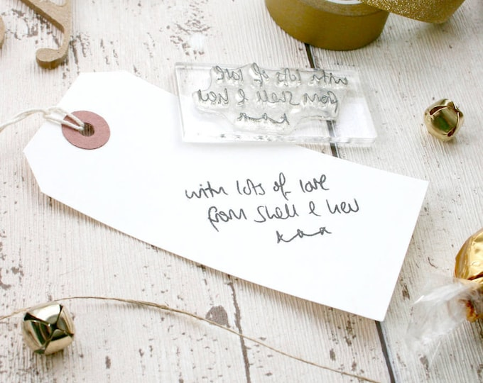 Personalised Rubber Stamp - Custom Stamp - Hand Written Message - Personalised Greetings - Message Stamp - Clear Sticky Stamps - Stamp Shop