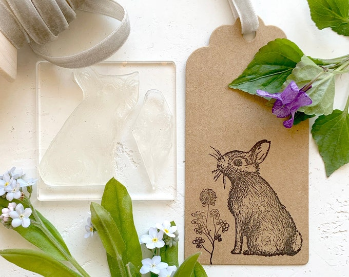 Rabbit Rubber Stamp - Rabbit and Clover Stamp - Bunny Rabbit Stamp - Craft Stamp - Clear Sticky Rabbit Stamp - Little Stamp Store