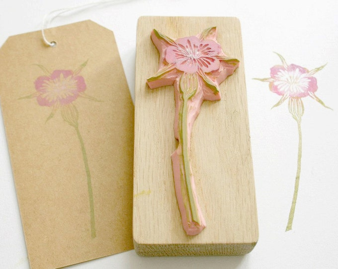 Wild Flower Corncockle - Hand Carved Rubber Stamp