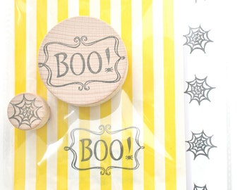 Halloween Rubber Stamp - Stamp Set - Boo Rubber Stamp - Boo and Spider Web Rubber stamp - little stamp store