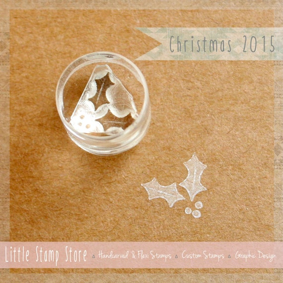 Merry Christmas MISTLETOE holly berry acrylic CLEAR unmounted RUBBER STAMP/'s NEW