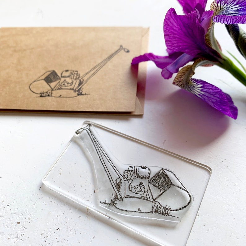 Little Stamp Store Fathers Day Gift For Him Lawn Mower Clear Stamp Card Making Stamp Vintage Lawnmower Lawnmower Rubber Stamp