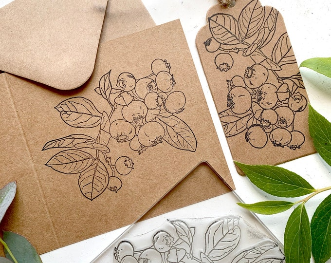 Blueberries rubber stamp