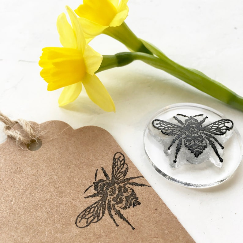 Bumblebee Rubber Stamp  Bumble bee Stamp  Honey Bee  3cm Clear Mount
