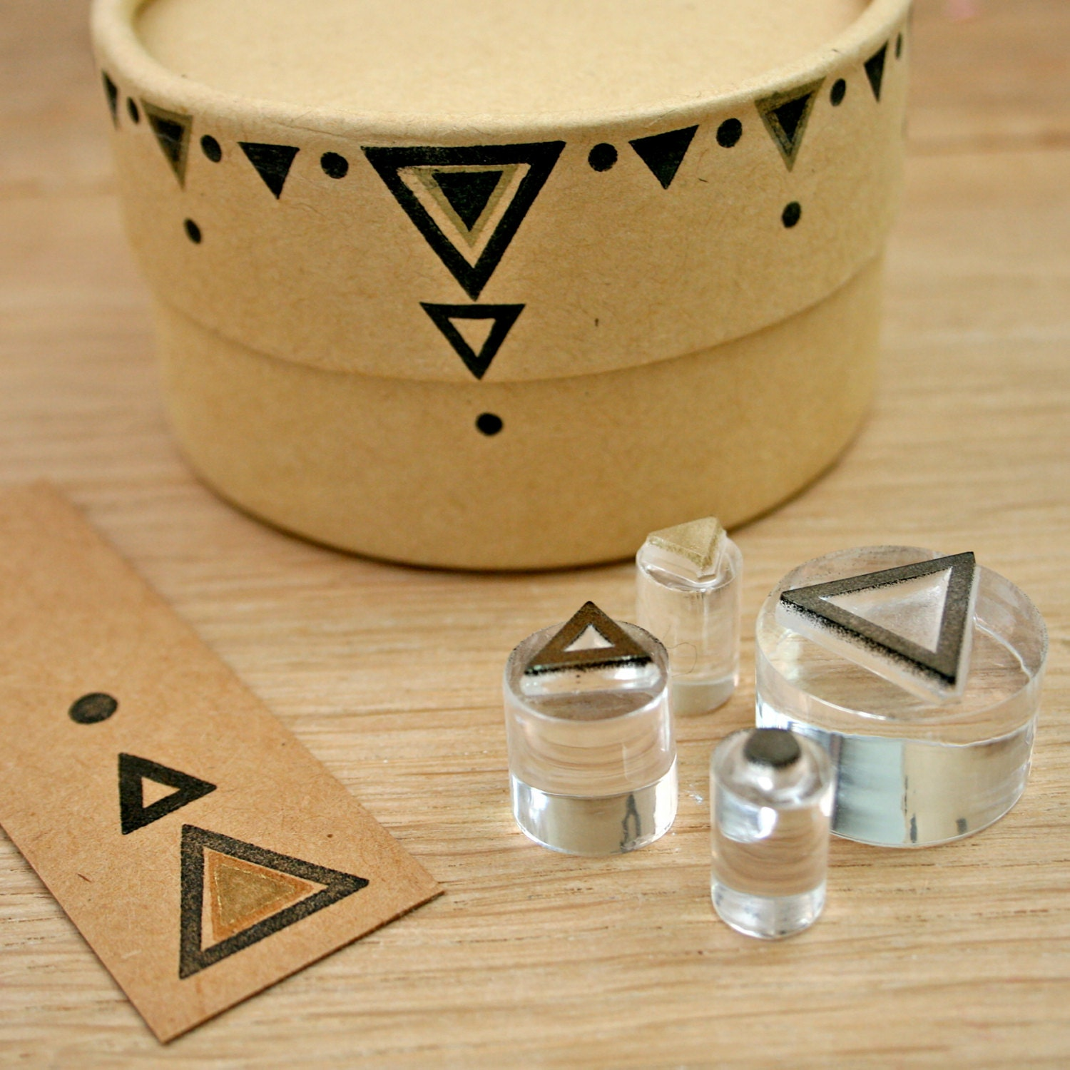 Triangle Tribal Rubber Stamp Set